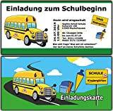 Einladungskarten zum Schulanfang zur Einschulung Schuleinführung Einladung Set 10 Stück + Ihren Namen & Text