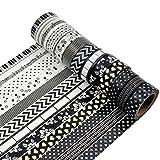 AUFODARA 12er Washi Tape Set Unterschiedliche Mustern Klebeband DIY Deko
