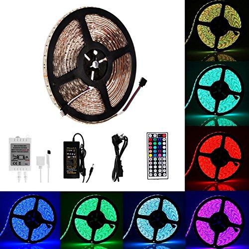 Guaiboshi LED Streifen Beleuchtung 10M RGB 5050 Wasserdicht 600leds Strip Bänder Farbwechsel voller Set mit 44 Tasten IR-Fernsteuerpult und 6A 24V für innen und im Freiendekoration Atmosphäre