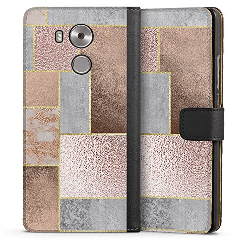Huawei Mate 8 Tasche Leder Flip Case Hülle Braun Muster Marmor (Patchwork Leder Braun Bag)