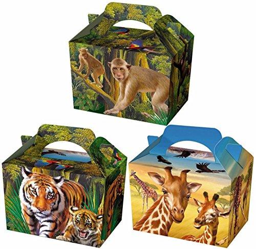 6Wild Animals Kid Kinder Einfache Activity Box Beute Mahlzeit Lunch für Party Tasche Dschungel