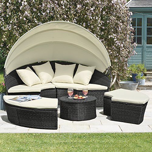 Rattan Daybed Canopy : Rattan effect garden day bed folding canopy