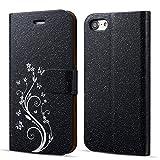 UEEBAI Coque pour iPhone 7 iPhone 8, étui de Luxe Glitter [Fermeture magnétique] [Fentes pour Cartes] [Kickstand] PU étui en Cuir Flip Case avec Motifs de Fleurs élégantes Impression - Noir
