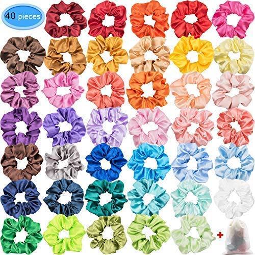 EAONE 40 Stück Satin Haargummis für Mädchen Haargummis Scrunchies Elastisches Haar Band Pferdeschwanz,40 Farben