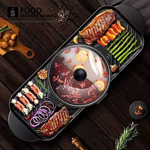 Grill elettrico, multifunzione barbecue elettrico antiaderente in due pezzi senza fumo barbecue in muratura shabu-shabu teglia da forno grande capacità separabile 2200w