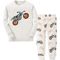 YuanDiann Garçon Fille Pyjama Dessin Animé Impression Vêtements De Nuit 2 Pièces Ensemble Enfant Manche Longue Doux Tops Shirts & Pantalon Habit Noel Tenue 2-7 Ans