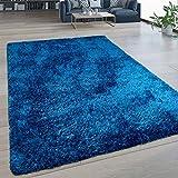 Tappeto Soggiorno Pelo Lungo Lavabile Shaggy Effetto Flokati Tinta Unita Blu, Dimensione:200x280 cm
