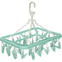 Kuber Industries Plastic 360 Degree Portable Folding Clothes Drying Rack Space Saving Travel Rotatable Clips (Green, 32…