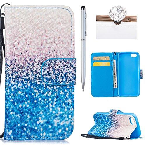iPhone 5C Hülle,iPhone 5C Case - Felfy PU Ledertasche Strap Flip Standfunktion Magnetverschluss Luxe Bookstyle Ledertasche Nette Retro-Mode Painted Muster Abdeckung Schutzhülle Ablösbar Handliche PU L Blue Sand