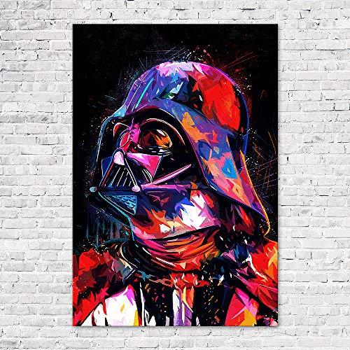 Zabarella Bild Darth Vader Star Wars Kunstdruck auf Keilrahmen Pop Art Wanddekoration Wohnzimmer (60 x 90 cm) -