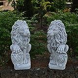 Sonderangebot: Herrliches Löwen Paar mit Wappen Torwächter aus Steinguss, frostfest