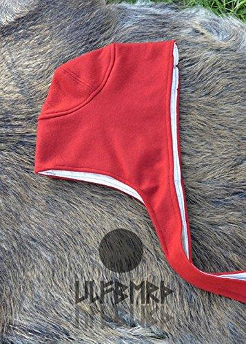 LARP Hochmittelalter Bundhaube aus Wolle Coiffe verschiedene Farben Kopftuch Damenhaube (Rot)