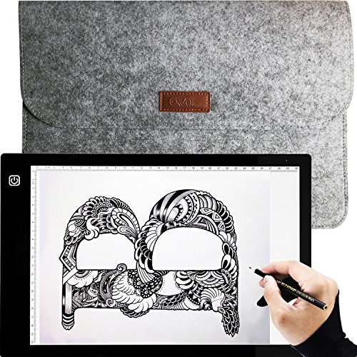 Ownuzz Leuchttisch A4 LED Leuchtkasten Leuchtplatte zeichnen zubehör einstellbare Helligkeit LED Handwerk Tracing Animations Tattoo Quilting Leuchttisch mit USB Kabel [Energieklasse A++]