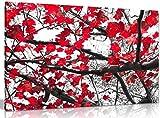 Schwarz Weiß Rot Kunstdruck Bäume & Blätter Bild auf Leinwand, schwarz / rot / weiß, A2 61x41 cm (24x16in)