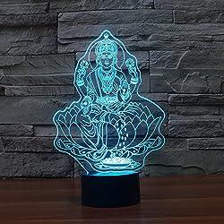 Hermoso Buda 3D LED Luz de noche con lámparas de mesa táctil USB como decoración navideña cuatro luces mano figura de Buda