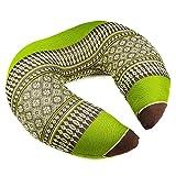 Kapok cuscino Thai cuscino a forma di cuscino cervicale/collo/cuscino da viaggio in verde marrone con fiori modello–mythai Massage–Realizzato a mano in Thailandia