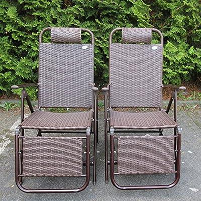 2-Set Relaxsessel Poly Rattan Alu Gartenstuhl mit Fußstütze Liegestuhl