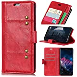 Huawei Honor 8X Cover PU Leather Wallet Case Flip Kickstand Function Ultra Folio Flip Slim Card Holder Case Cover Durable Protective Case For Huawei Honor 8X (Red)