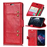 Yadasaro Nokia 2 Leder Hülle Schutzhülle Ultra Slim Bookstyle Flip Leder PU Weiche Silikon Shockproof Vollschutz Schutzhülle für Nokia 2 rot