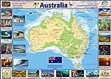 Karte von Australien (in englischer Sprache) – Papier, laminiert a1 farblos