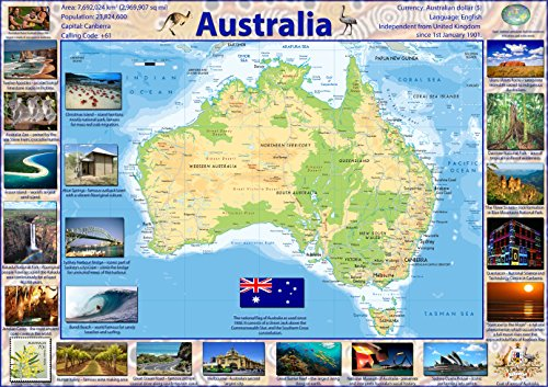 Karte von Australien (in englischer Sprache) - Papier, laminiert a1 farblos - Karte Von Australien