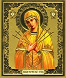 Warenwelt Bild Ikone Gottesmutter mit sieben Pfeilen Karton 18 x 15 cm Russische Ikone