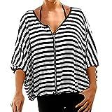 DEELIN Damen Streifen T-Shirt mit Kapuze ärmellosen Elegant Casual Tops Bluse (XL, Z-Schwarz)