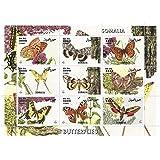 Mariposas de la hoja de sellos del mundo con 9 sellos / Somalia / 1999