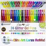 24glitter neonglitter Gel Stifte 2,5x 150% mehr Tinte Premium Qualität einzigartiges Pack Art Set Maximale Tinte auf dem Markt Best Bücher, Zeichnen, färben, für Erwachsene