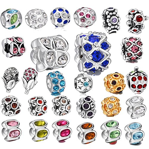 Akki Beads Angebot SET 25stück Murano Glasperlen Glas Türkis Blau Silber Rot Lila Rosa farbe Bead Element passend kompatibel mit Pandora Kette Armbänder kult Bead beads Schmuck 002 Strass