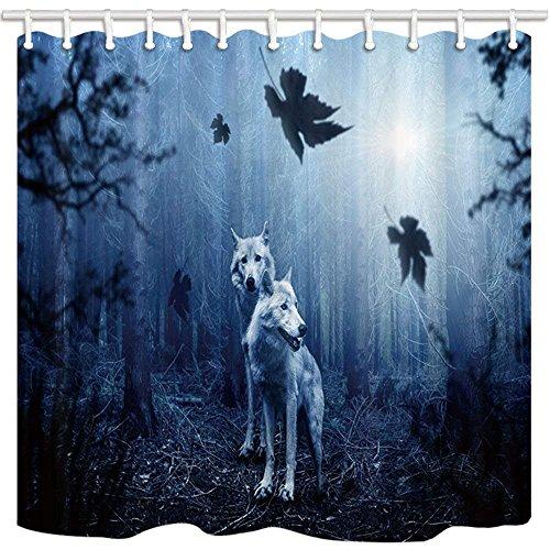 AdaCrazy Wild Animal Duschvorhang Wolf im dunklen Wald mit Nebel Moisty Morning Bad Mildew beständiger Polyester Stoff Wasserdicht Duschvorhang Set mit Haken 71X71in