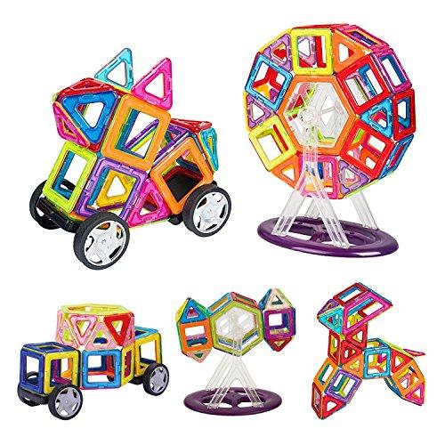INTEY Magnetische Bausteine 66 Stück Konstruktionsbausteine Kleinkinder magnetische Bauklötze für Kinder ab 3 Jahren ( Geburtstags oder Weihnachtsgeschenk) fördert die Kreativität und Konzentration