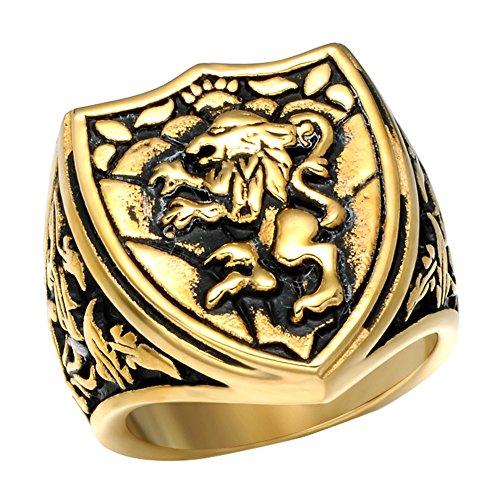 ild dominieren Tier Löwenkopf Titan Stahl Ringe,Gold,Größe 54(17.2) (Duschvorhang Kostüm)