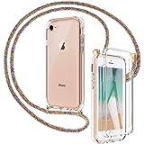 Mkej 3 in 1 Custodia per Cellulare Girocollo per iPhone SE/ 7/8 Case Tracolla con Protezione per Display Integrata - Cordonci