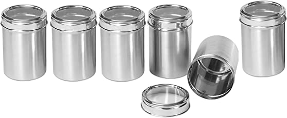 Dynore Stainless Steel Canister Set, Set of 6, Silver (DS_271)
