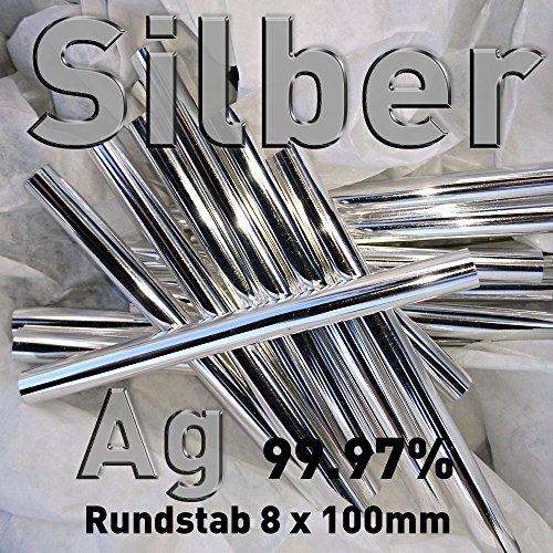 Plata Ag 99,97% varilla de ánodo 8 mm x 100 mm Galvanik plata de ley electrodo varilla de plata 10 cm