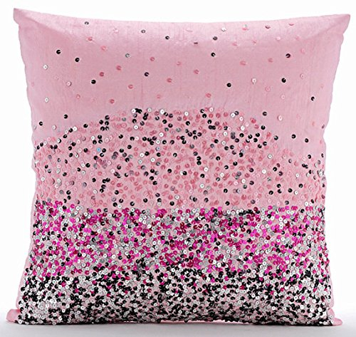 Fait main Rose Taies, Paillettes Ombre Club Et Lounge Theme Taies, 60x60 cm Taies, Soie Taie, Moderne Taies   Pink Starburst