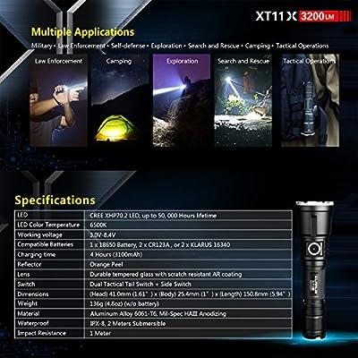 Klarus XT11X Taktische Taschenlampe 3200 Lumen CREE XHP70.2 P2 LED USB aufladbare EDC Taktische Taschenlampen Leistungsstarke Taktische Taschenlampe, mit 18650 Batterie und BanTac USB Licht + Batteriekasten von Klarus.Co.,Ltd bei Outdoor Shop