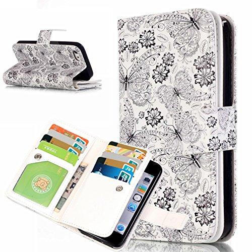 Beiuns Étui en Simili cuir pour Apple iPhone 5 5G 5S / iPhone SE (4 pouces) Housse Coque - N196 Motif léopard + papillon N202 Papillons volant