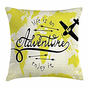 Funda de cojín de aventura, Life is an Adventure cita mapa del mundo pequeño avión viajando arte impresión, funda de almohada decorativa cuadrada, 45,7 x 45,7 cm, color amarillo y negro