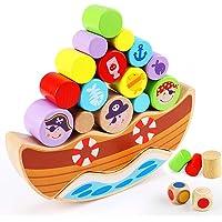 Lewo Jeu de équilibrage en Bois de Pirate Blocs de Construction empilables Jouets Montessori pour Enfants en Bas âge