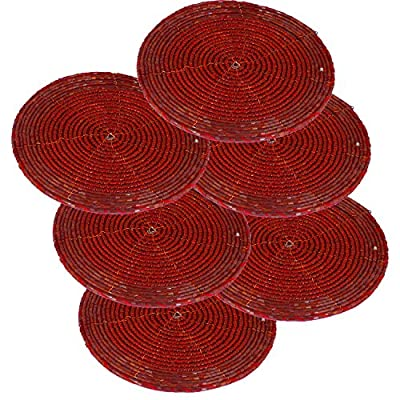 Set of 6 - Handmade Glass Beaded Coaster for Christmas Red - Home Furnishing Dining Set - Dia 10.2 CM