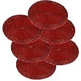 SKAVIJ Handgemacht 6 Teilig Glasperle Rot Untersetzer Glas für Tassen Dekoration Indien - 10 Cm