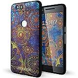 Nexus 6p Funda,Lizimandu 3D Patrón Protectiva Carcasa de Silicona Gel TPU estrecha Case Cover Para nexus 6p(Flor Azul/Blue Flower)