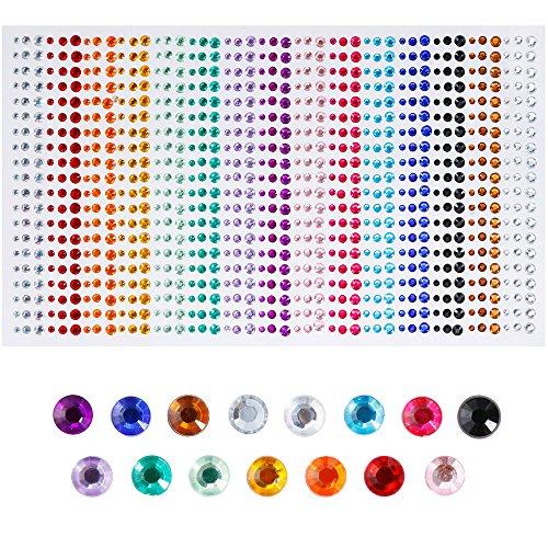 Faburo 900 Teile Schmucksteine Glitzersteine Aufkleber ,3mm ,4mm , 5mm ,Acryl Bunt Strasssteine Selbstklebend Zum Basteln -