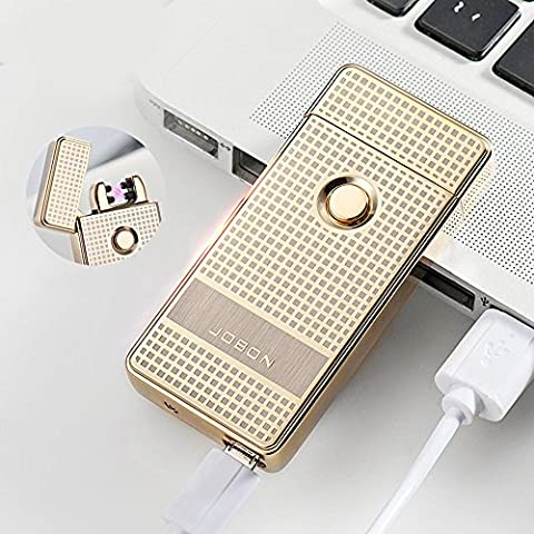 Jobon Dual ARC Electronic lighter ZB-316 High-End Boutique Windproof USB Rechargeable (Gold) by Jobon