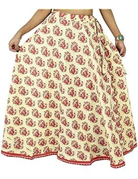 Desgaste a largo beige falda de la manera de las mujeres de la impresión floral del Hippie maxi del cordón de...