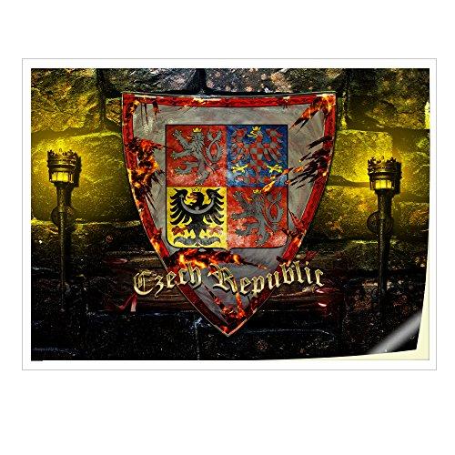 Wappen Tschechisch Republik, Skin-Aufkleber Folie Sticker Laptop Vinyl Designfolie Decal mit Ledernachbildung Laminat und Farbig Design für Laptop 11.6