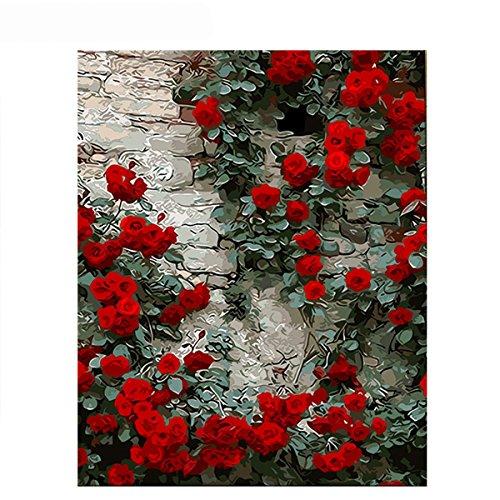 DIY digitales Ölgemälde, Malen nach Anzahl Kit für Home Wand Dekor Kunst Geschenk, rote Rosen auf dem Tisch, Mit Rahmen -