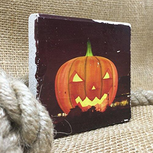 *Happy Halloween* Lustig (10x10cm) - Holzbild Wandbild Landhausstil Shabby Chic Vintage Geschenkidee Souvenir Dekoration (Halloween Wandbilder)